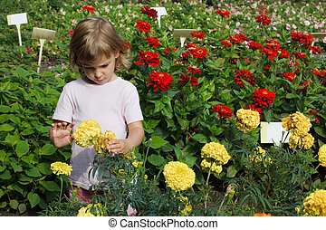 young girl holding in her hand yellow flower, red around...