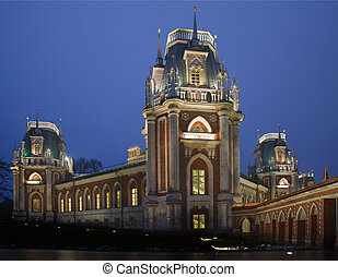Evening lighting castle of State historical and architectural museum reserve Tsaritsyno, Russia. It was build in 1776.