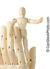 de madera, figura, poco, hombre, posición, grande,...