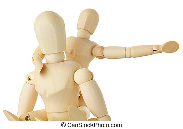 wooden figures of child sitting on back of his parent and...