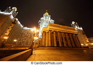 Main building of Lomonosov Moscow State University. Evening.