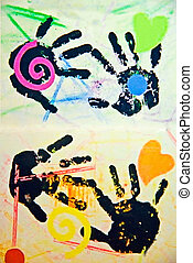 Childs Art Work - A childs artwork of hands and designs on...