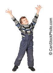 little boy in one-piece suit smile and put his hand up isolated on white background