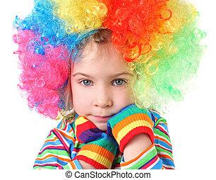 poco, niña, payaso, peluca, multicolor, guantes,...