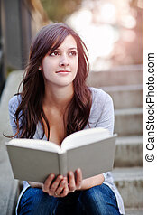 College student - A shot of a smiling college student...