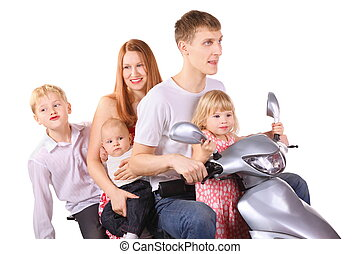 Father, mother and three children is sitting on motorcycle....