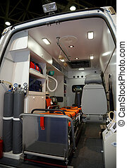 Equipment for ambulances. View from inside. Photo taken from the rear doors.