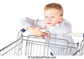 sadness, boy, standing, shoping, basket, looking, it, focus,...