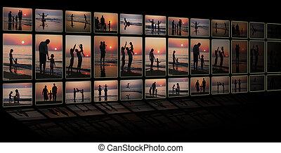 familia,  collage, Muchos, fotos, negro, Plano de fondo, televisión, playa