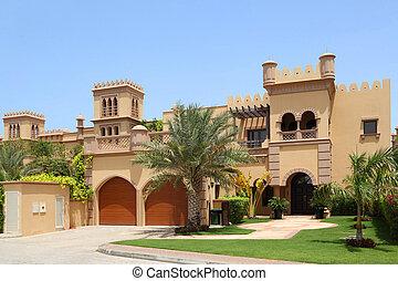 grande, árabe, estilo, casa, dois, garagens, archs,...