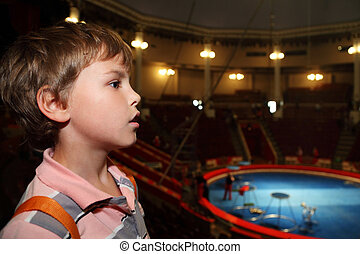 profile of little boy in circus with blue arena looking at side