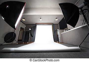 interior of professional photo studio with white background...
