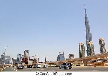 DUBAI - APRIL 18: general view on trunk road, skyscrapers and Burj Dubai, view from road, 18 april 2010 in Dubai, UAE