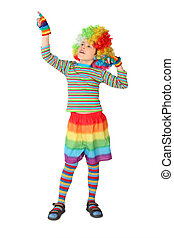 little boy in clown dress pointing at side isolated on white background