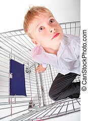little boy is sitting in shoping basket and looking away. isolated.