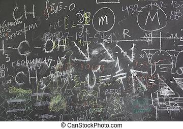 gris, escuela, pizarra, Muchos, diferente, formuls,...