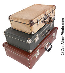 three old dirty dusty suitcases. all suitcases is closed....