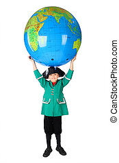 little boy in historical dress holding big inflatable globe...