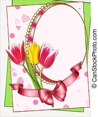 portrait frame with tulips collage