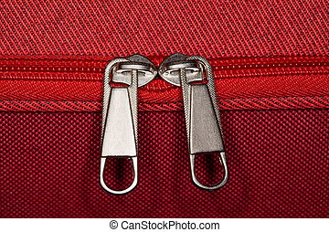 zipper of luggage bag, close-up