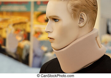 Medical equipment Neck Brace, on dummy