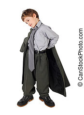 little boy in big grey mans suit and boots dressing jacket...