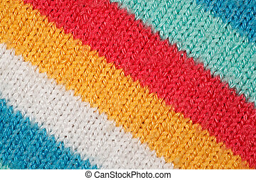 Structure of fabric close up. Bright colored strips on...