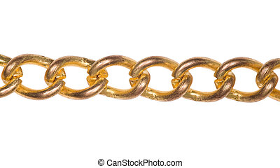 Fragment of gold chain isolated on white background