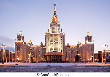 Moscow State University. Front facade view. Evening twilight...