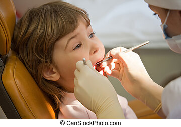 young girl have periodic survey tooth in medical office