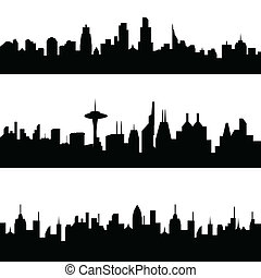Various city skylines - Various city skyline silhouettes