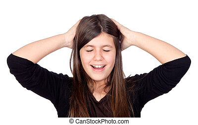 Surprised preteen girl isolated on white background
