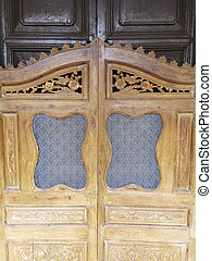 wooden door of Chinese traditional oriental design