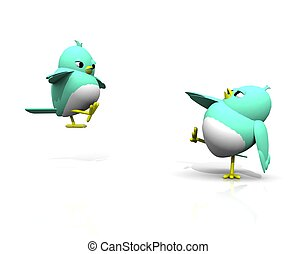 3d twitter birds  kung fu fight