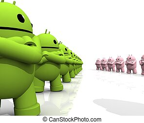 3d android friction green side - a two groups of android are...