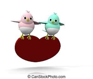 3d twitter  birds flying heart