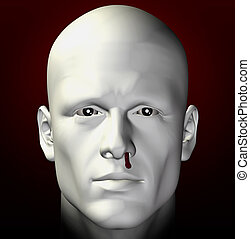 bleeding nose - Man portrait with bleeding nose. 3d...