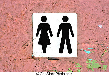 male female - Male female symbol label on grungy wood...
