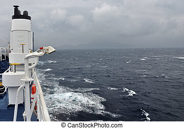 ferry boat deck - Sea and cloudy sky horizon from ferry boat...