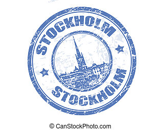 Stockholm stamp - Grunge rubber stamp with Riddarholmen...