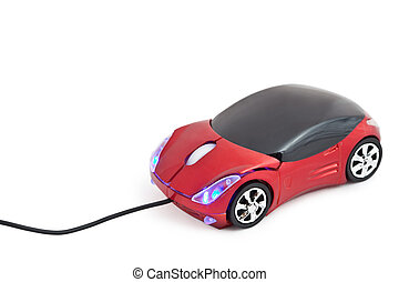 Computer mouse in form toy red sports car with glow headlights isolated on white background
