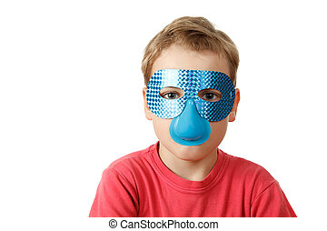 Portrait of boy in blue mask on white background. Isolation.