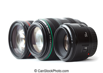 Three of lens to camera put in row Isolated on white...