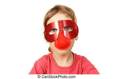 Portrait of girl in red mask on white background. Isolated.