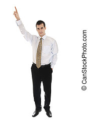 Business man pointing - Isolated business man pointing up