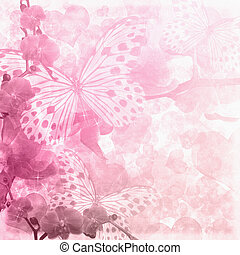 Butterflies and orchids flowers pink background 1 of set -...