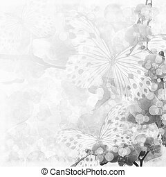 Butterflies and orchids flowers beige background ( 1 of set)