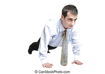 Business man do push up - Isolated business man doing push...