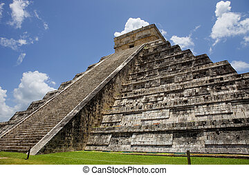 Chichen Itza - Ancient Mayan pyramid, Kukulcan Temple at...