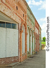 Boarded Up Weathered Vintage Store Front Facade, South...